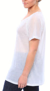 Semi-Sheer Ultra Light Weight Ragland SheerTee with Short Sleeves in White
