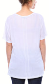 Expertly Cut U Neck Tee with Short Sleeves in White
