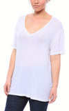 Expertly Cut V Neck Tee with Short Sleeves in White