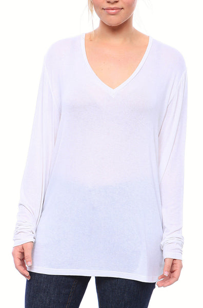 Expertly Cut V Neck Tee with Long Sleeves in White