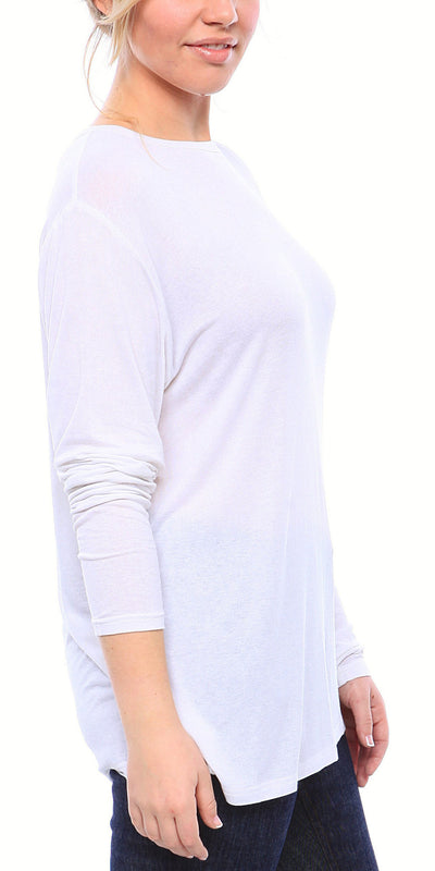 Expertly Cut Crew Neck Tee with Long Sleeves in White