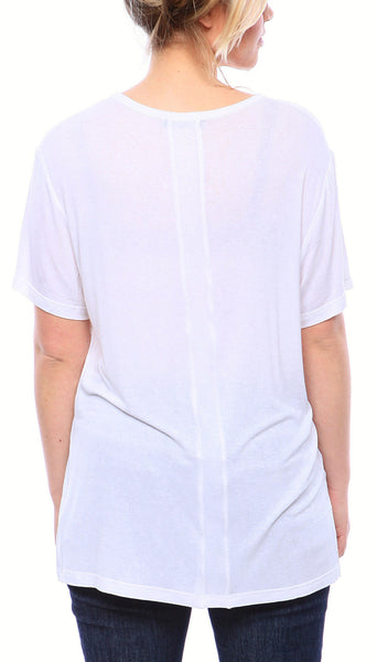 Expertly Cut Crew Tee with Short Sleeves in White