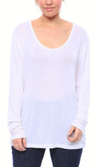 Expertly Cut U Neck Tee with Long Sleeves in White