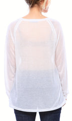 Semi-Sheer Ultra Light Weight Ragland Sheer Tee with Long Sleeves in White