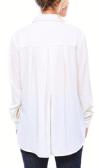 Staple Oversized Button Down Blouse in Matte Crepe in Off White