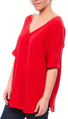 Double V Neck Matte Crepe Shirt in Red