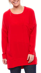 Crewneck Matte Crepe Tunic with Oversized Pocket and Full Sleeves in Red
