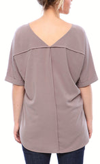 Double V Neck Matte Crepe Shirt in Slate