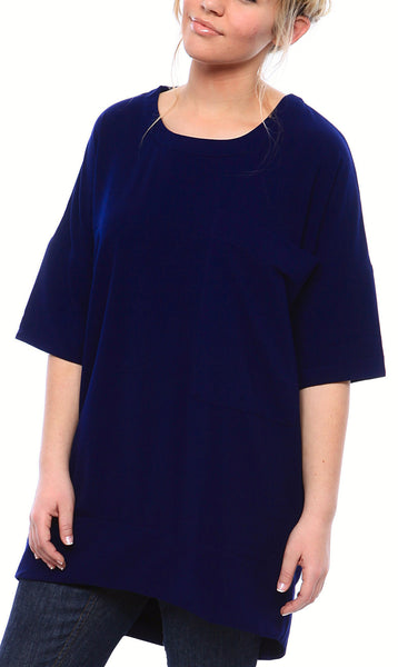 Crewneck Matte Crepe Tunic with Oversized Pocket and Half Sleeves in Navy