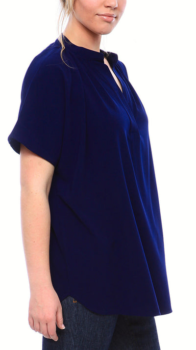 V Neck Popover Matte Crepe Blouse in Navy