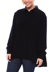 Staple Oversized Button Down Blouse in Matte Crepe in Black
