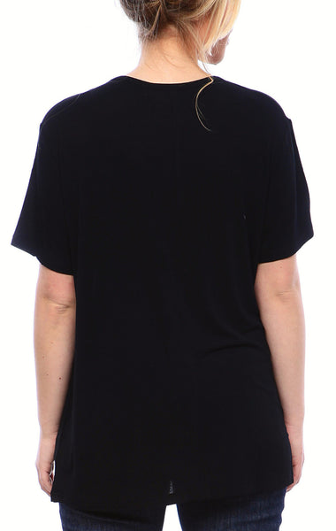 Expertly Cut Crew Tee with Short Sleeves in Black
