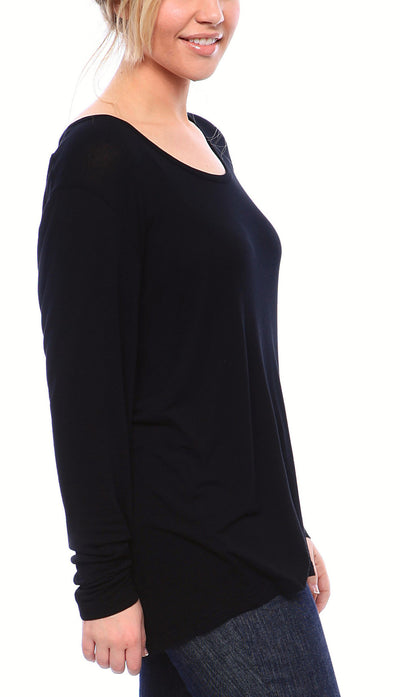 Semi-Sheer Ultra Light Weight Ragland Sheer Tee with Long Sleeves in Black