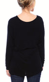 Expertly Cut U Neck Tee with Long Sleeves in Black