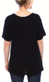 Expertly Cut U Neck Tee with Short Sleeves in Black