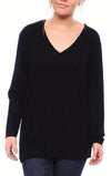 Expertly Cut V Neck Tee with Long Sleeves in Black