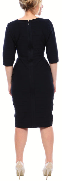 Bandage Dress with Quarter Sleeves in Black