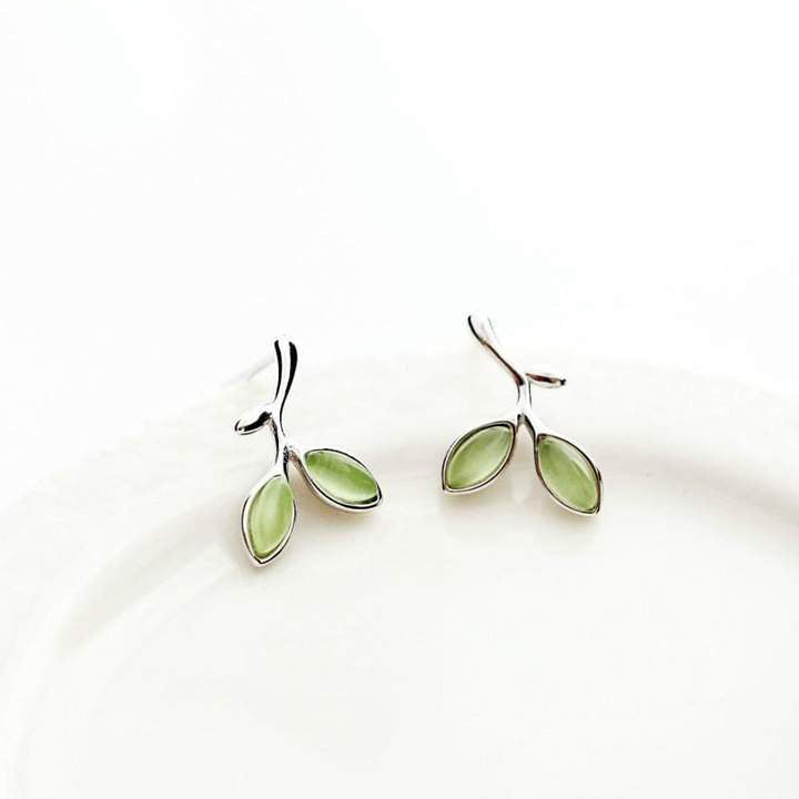 925 Silver Opal Green Twig Fairytale Earrings
