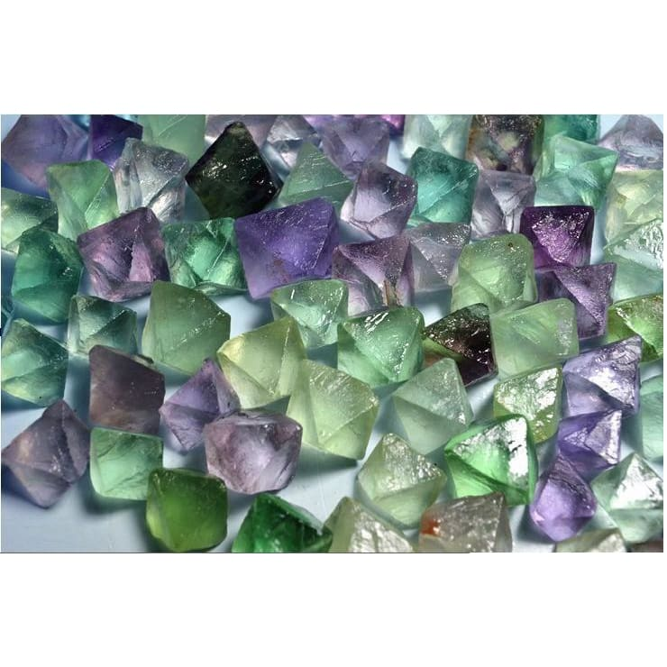 50 Grams Rough-Tumbled Fluorite Octahedrons (50 Grams) (5-15 Stones)