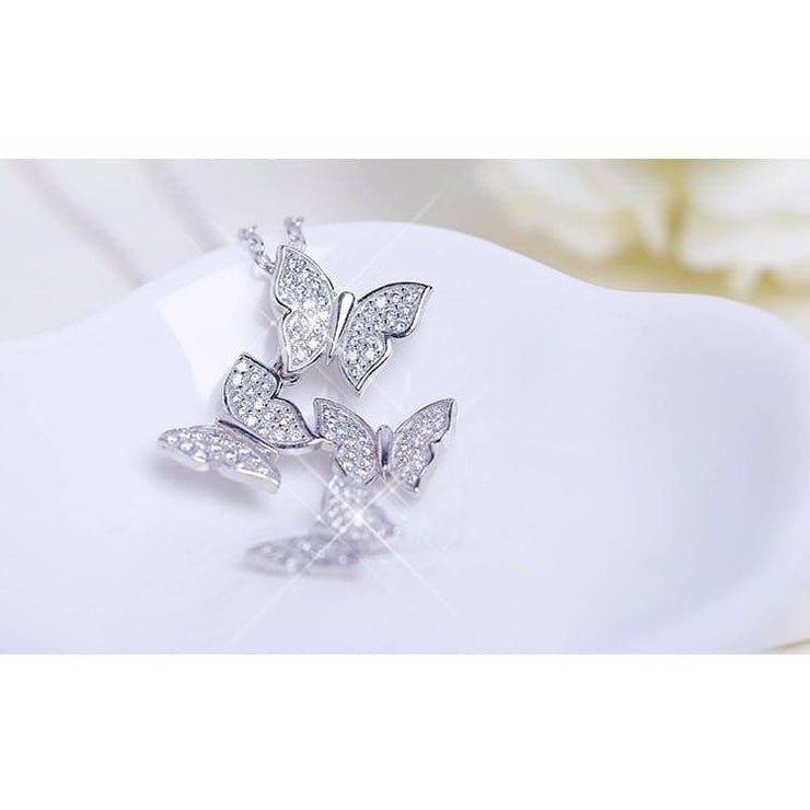 925 Silver Butterfly Zircon Crystal Fairytale Necklace