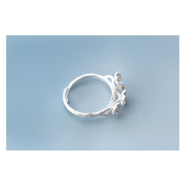 925 Silver Cherry Flower Adjustable Fairytale Ring
