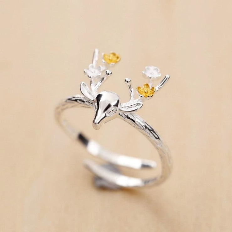 925 Silver Embelished Deer Fairytale Adjustable Ring