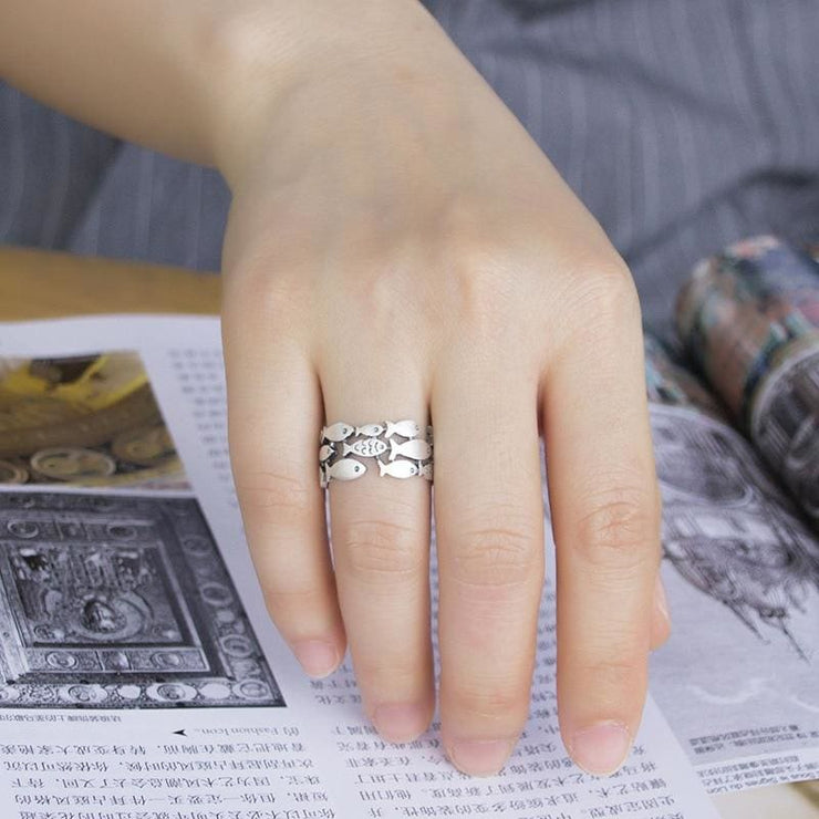 925 Silver Fish Adjustable Fairytale Ring