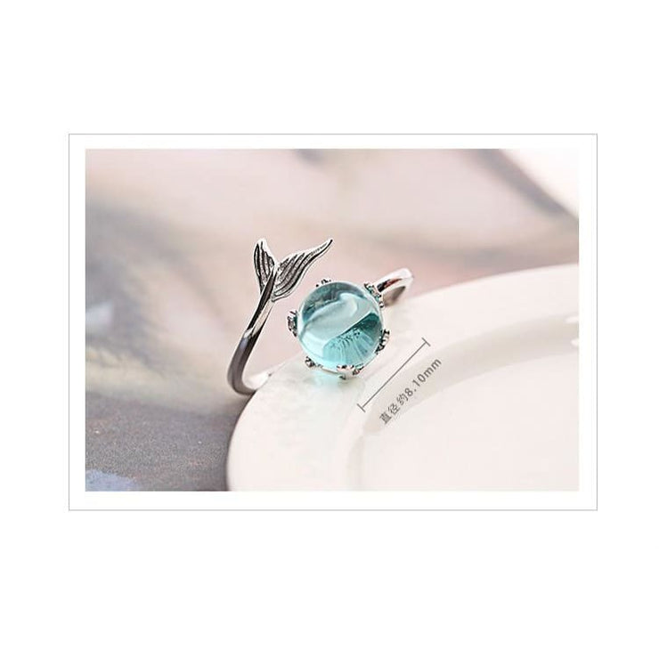 925 Silver Mermaid Fairytale Crystal Ring