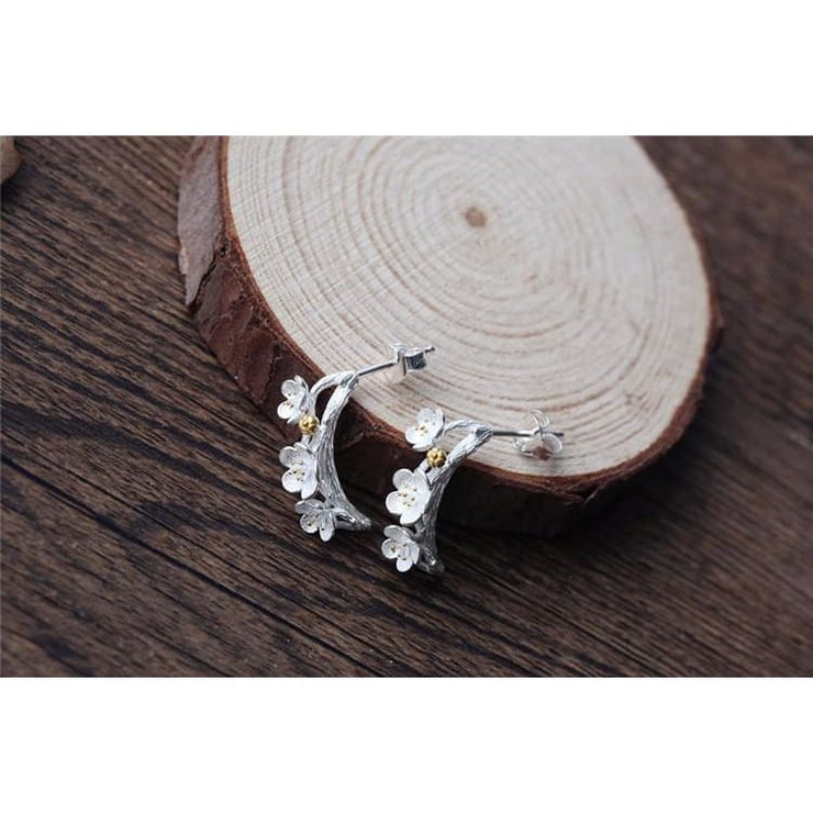 925 Silver Plum Flower Fairytale Earrings