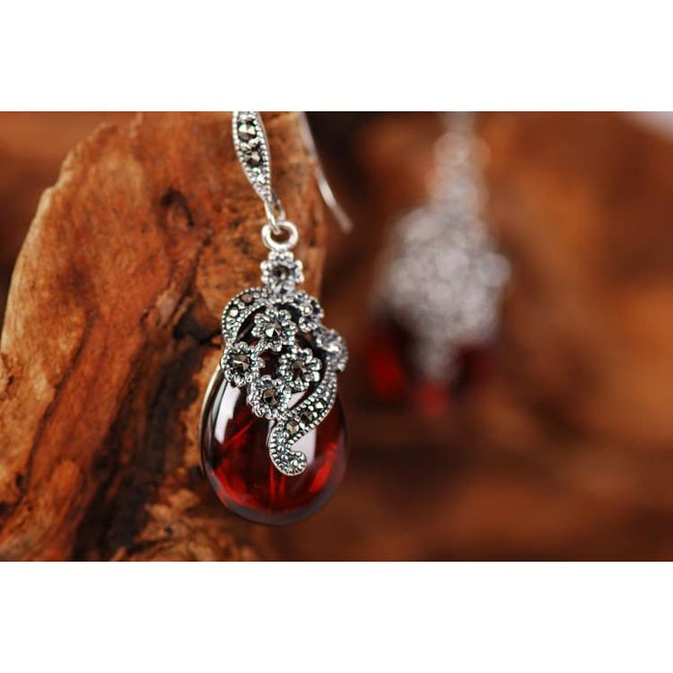 925 Silver Semi-Precious Royal Garnet Earrings