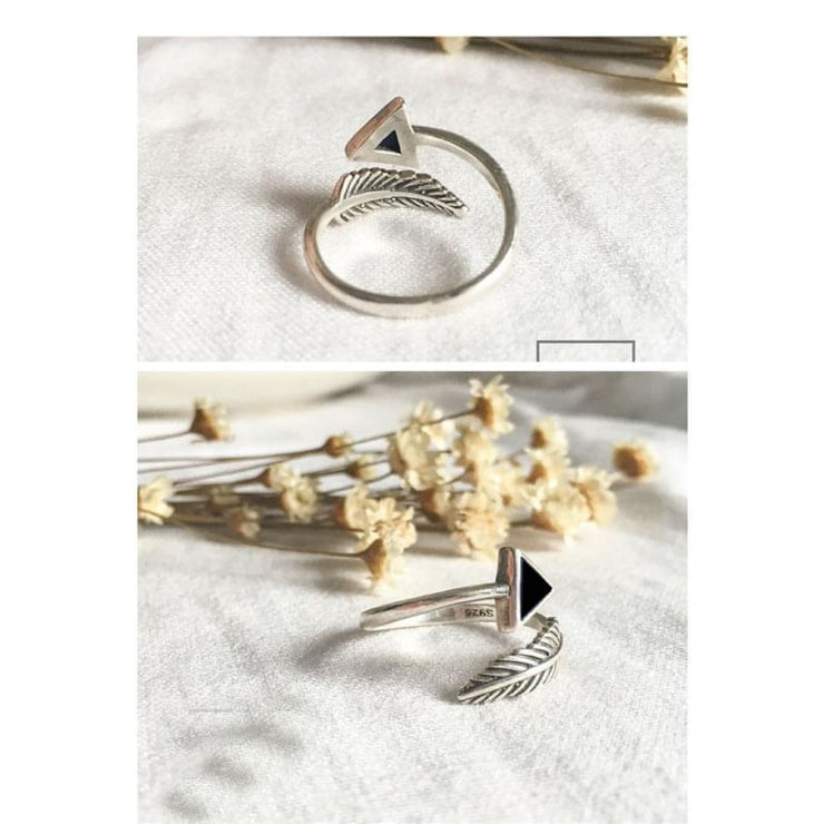 925 Silver Triangle Feather Fairytale Adjustable Ring