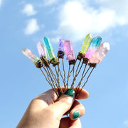 Angel Aura Crystal Quartz Hair Pins