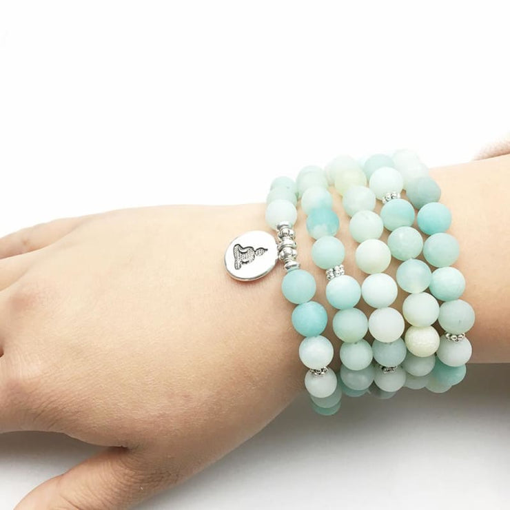 Amazonite Mala Bead Bracelet Or Necklace