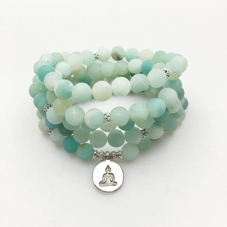 Amazonite Mala Bead Bracelet Or Necklace - Buddha Charm