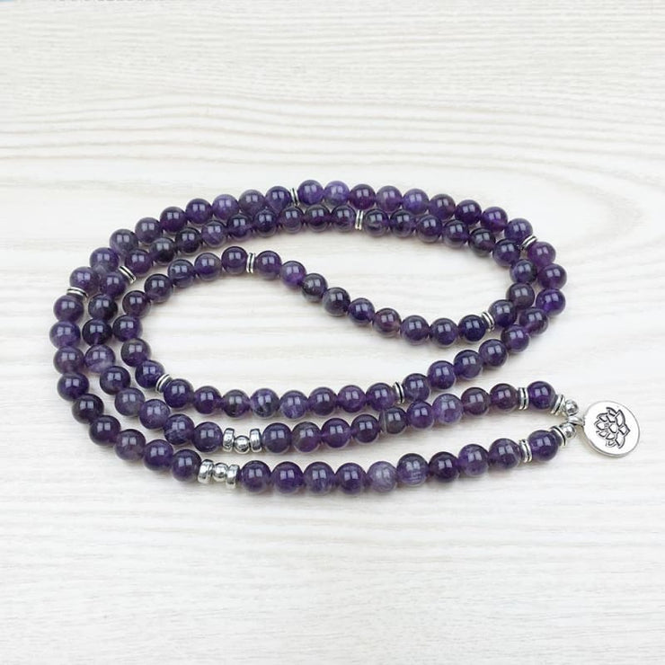 Amethyst Mala Bead Bracelet Or Necklace