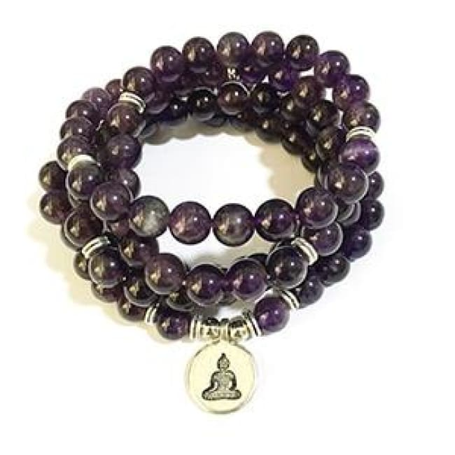 Amethyst Mala Bead Bracelet Or Necklace - Buddha Charm