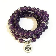 Amethyst Mala Bead Bracelet Or Necklace - Lotus Charm