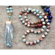 Angel Aura Quartz Mala Bead Pendant Necklace