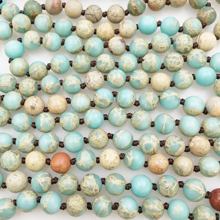 Aqua Terra Stone Mala Bead Necklace