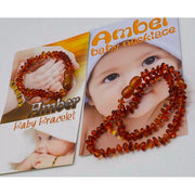 Baltic Amber Baby Teething Necklace & Bracelet Set (Cognac Amber)