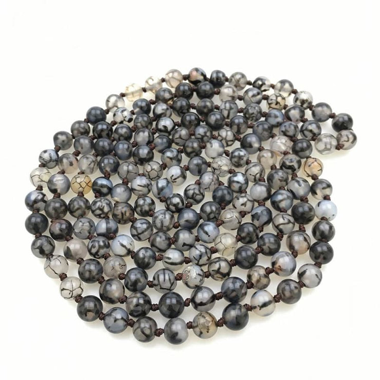 Black Line Stone Mala Bead Necklace