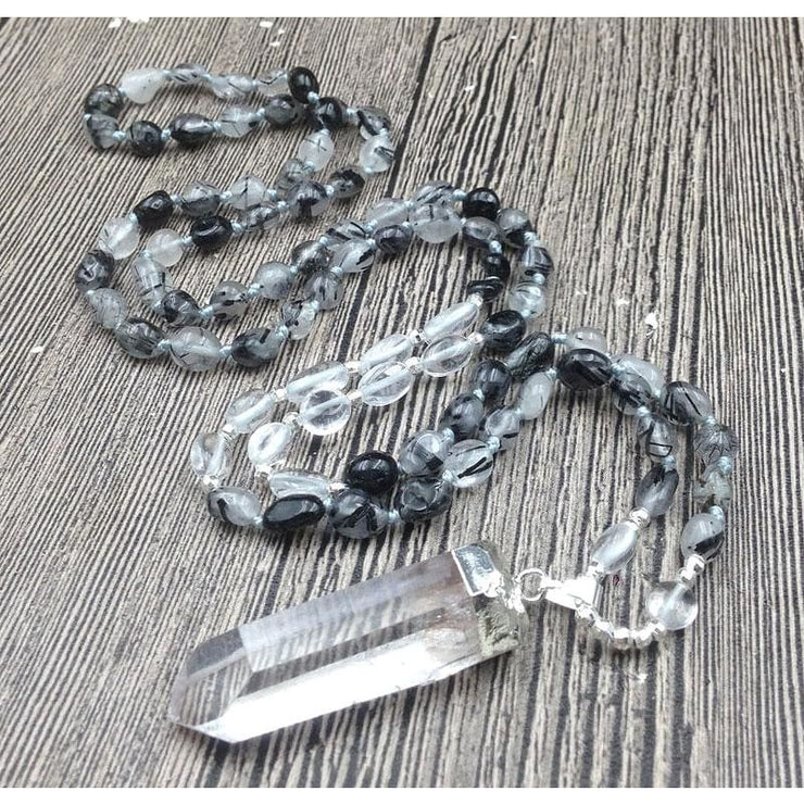 Black Rutilated Quartz Mala Bead Necklace With Clear Quartz Pendant