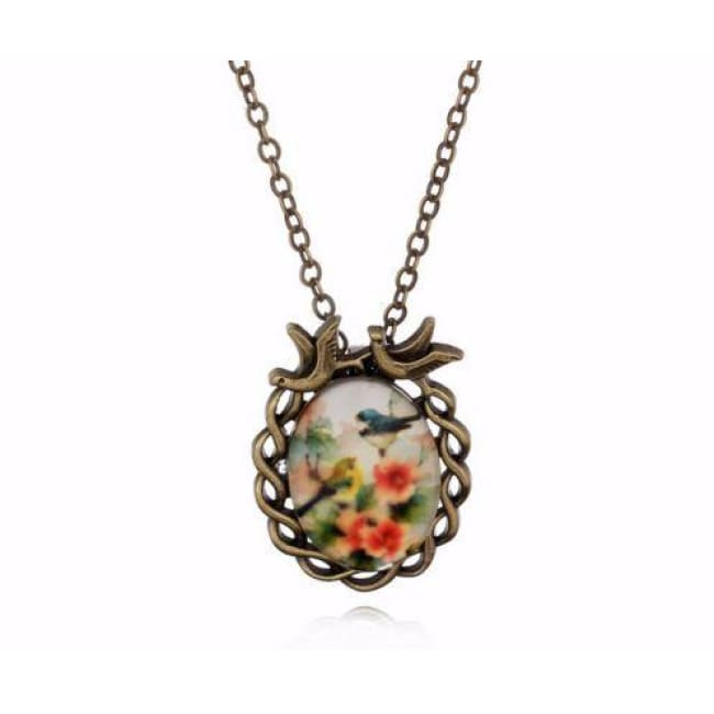 Bohemian Bird On Flowers Pendant - Necklace
