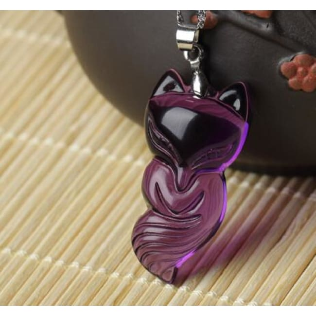 Carved Amethyst Fox Pendant