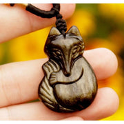 Carved Obsidian Fox Pendant
