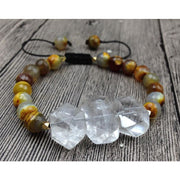 Clear Quartz & Agate Mala Beads Bracelet