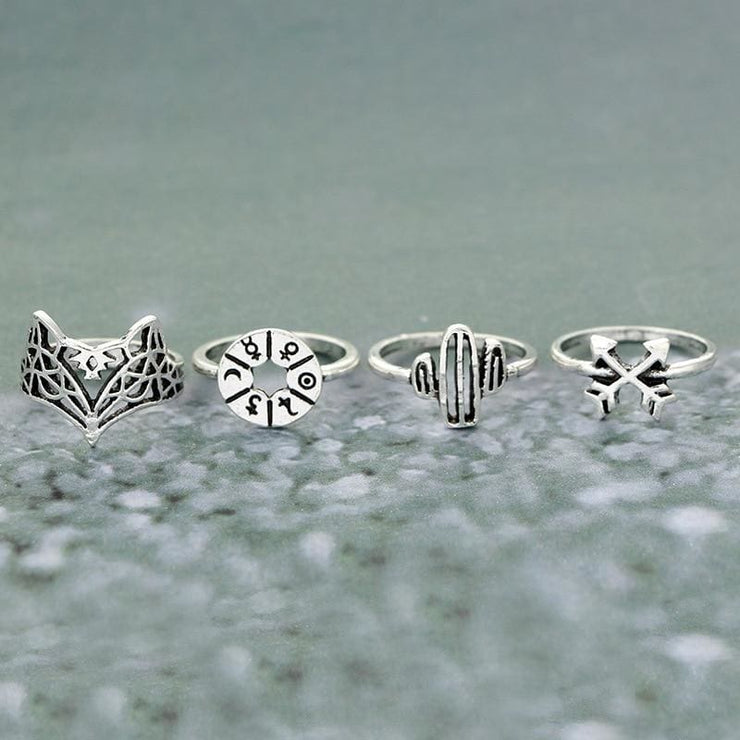 (Clearance) 12 Piece Set Bohemia Antique Silver Rings