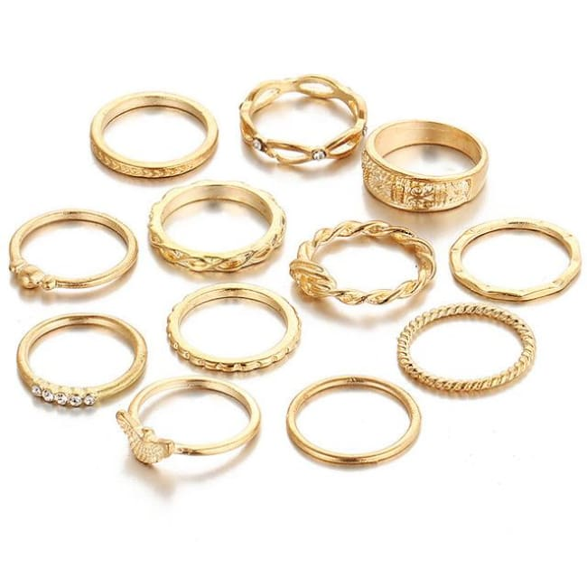 (Clearance) 12 Piece Set Gold Charm Ring Set - Rjcs071