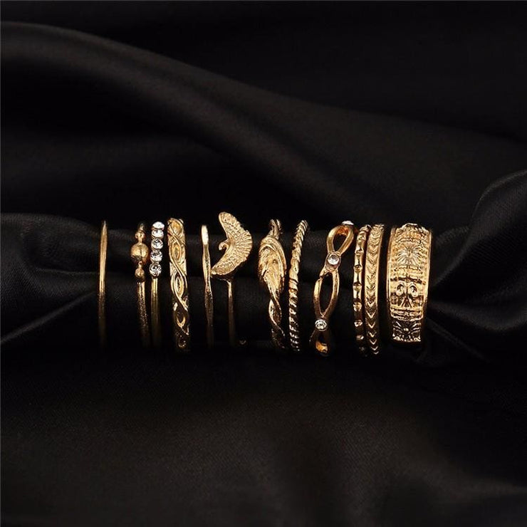 (Clearance) 12 Piece Set Gold Charm Ring Set