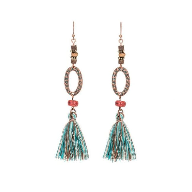 (Clearance) Antique Vintage Bohemian Ethnic Tassel Earrings - E020229